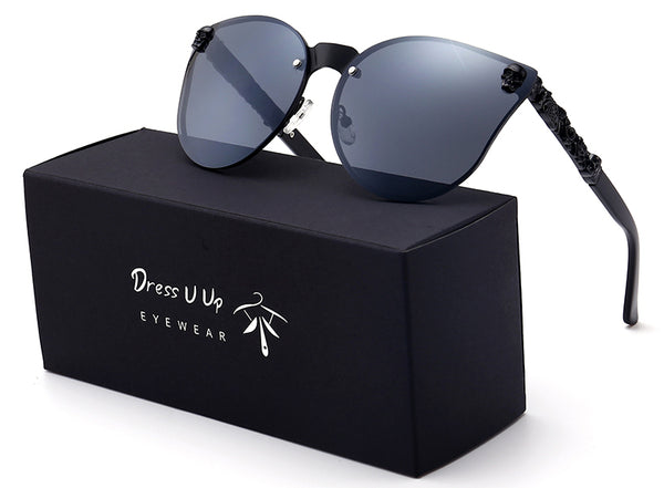 Cat eye Skull Sunglasses with Case