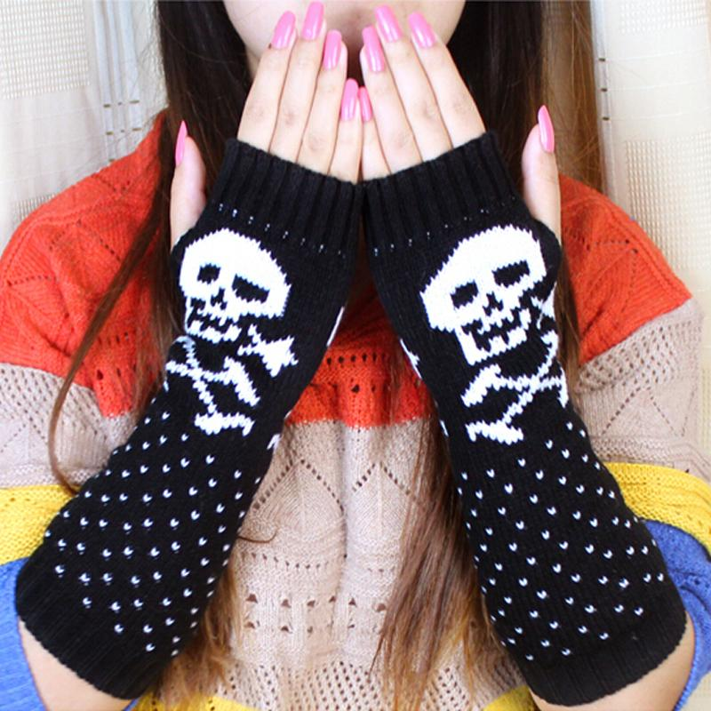 KNITTED SKULL ARM WARMERS