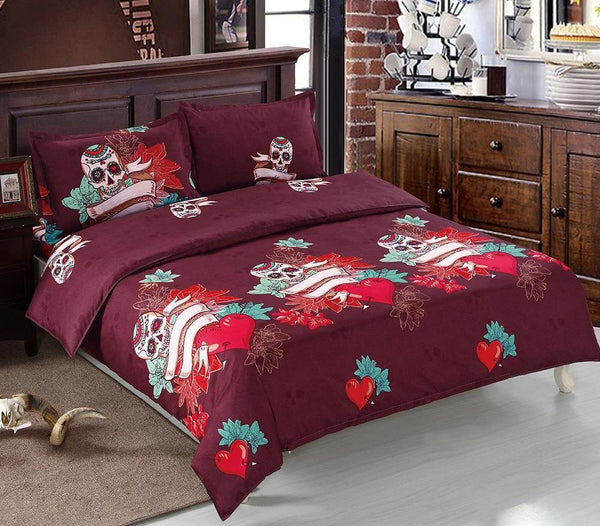 Bedding Set Skull Flower Red Heart