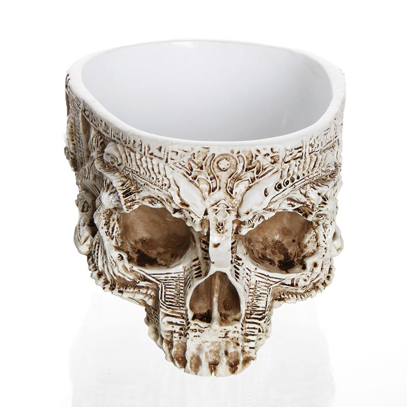 Skull Flowerpot - White Antique Sculpture Planter / Storage Container
