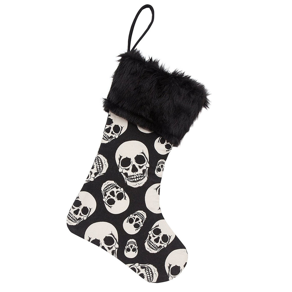 BLACK AND WHITE SKULL CHRISTMAS STOCKING