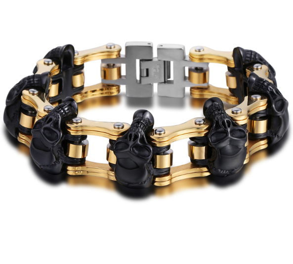 Heavy Chain Skulls Link for Bikers Bracelet