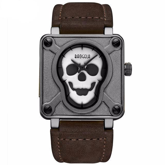 Mens Waterproof Leather Strap Skull Watch
