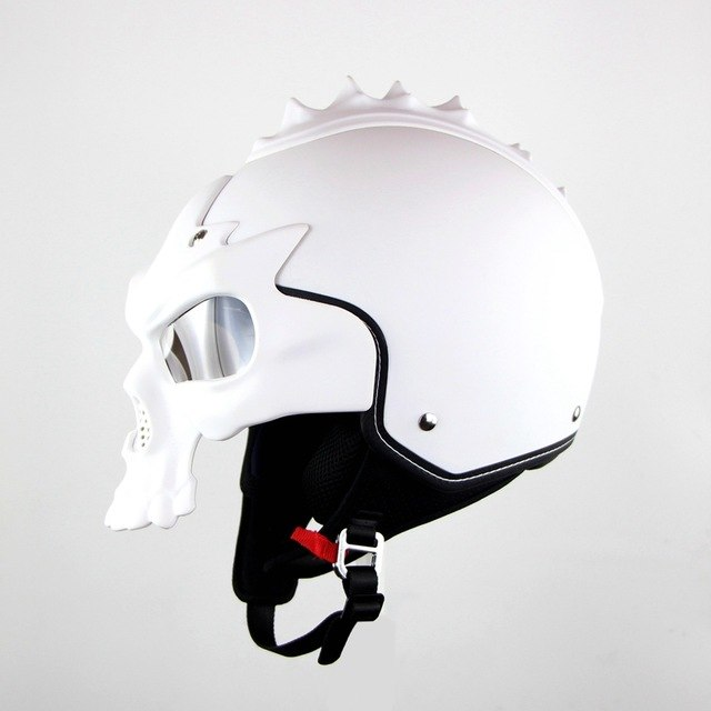 DOT Skull Motorcycle helmet Retro half face