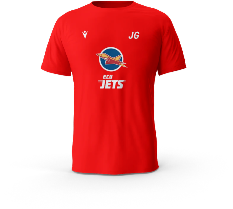 ECU Jets Boost Hero T-Shirt Red with Initials