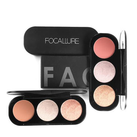 Focallure 3 Colors Blush Highlighter Palette