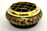 Black Carved Brass Screen Charcoal Incense Burner w/Wooden Coaster for Smudging, Ritual use