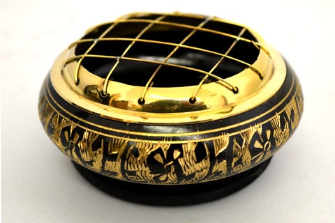 Black Carved Brass Screen Charcoal Burner w/Wooden Coaster