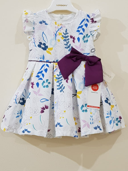 Elegant Floral Sleeveless Bow Tie Frock - Little World