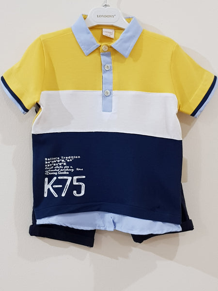 "Polo T Shirt ""K - 75"" with Cotton Jeans with Suspenders  (2 Pcs Set) - Little World"