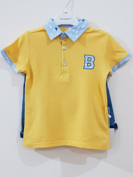 "Polo T Shirt ""Boys"" with Ribbed Denim Jeans (2 Pcs Set) - Little World"