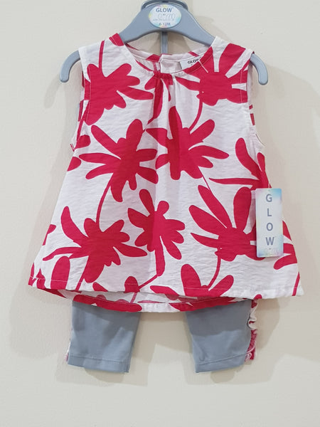 "2 Pcs ""Red Floral"" Sleeveless Frock & Capri Tights Set - Little World"