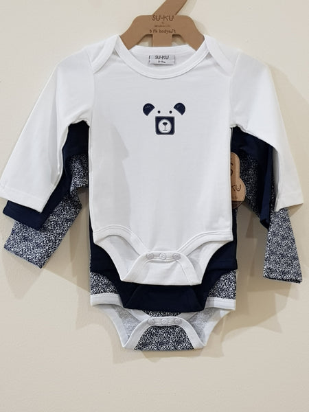 """Bear"" - Set of 3 Full Sleeves Rompers - Little World"