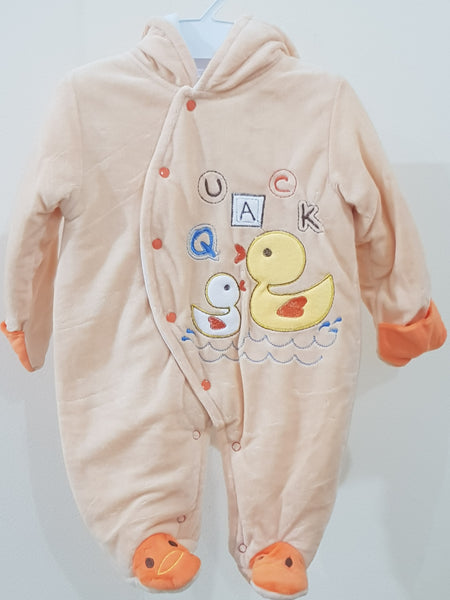 """Quack"" Hooded & Footed Winter Romper"