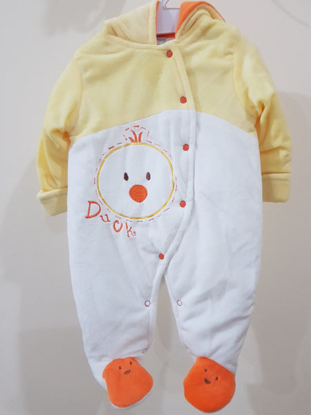 """Duck"" Hooded & Footed Winter Romper"