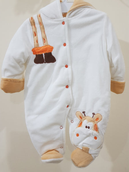 """Elegant White"" Hooded & Footed Winter Romper"