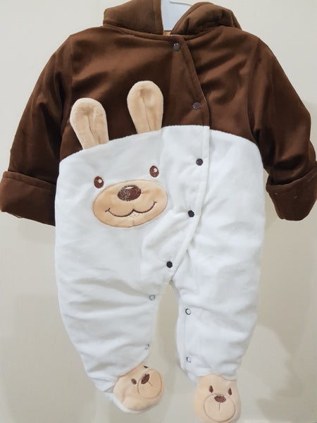 """Bear"" Hooded & Footed Winter Romper"