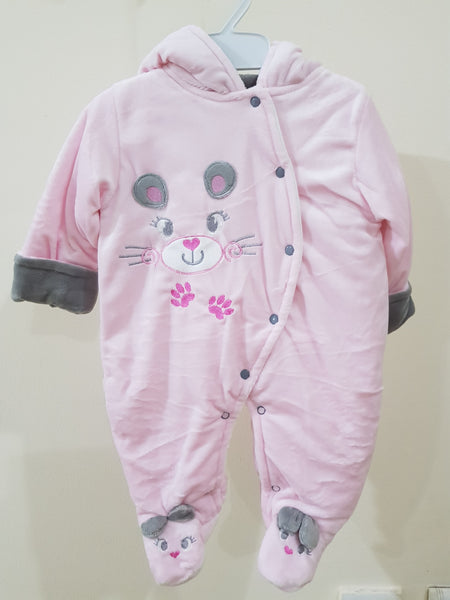 """Teddy Bear"" Hooded & Footed Winter Romper"
