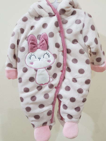 """Bunny"" Hooded & Footed Winter Romper"