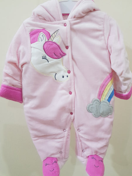 """Unicorn"" Hooded & Footed Winter Romper"