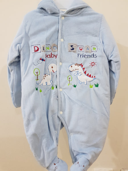 """Dino"" Hooded & Footed Winter Romper"
