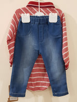 2 Pcs Polo Romper & Cotton Jeans