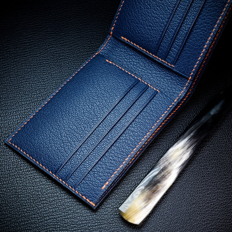 #194 Navy French Chévre Small Bifold Wallet
