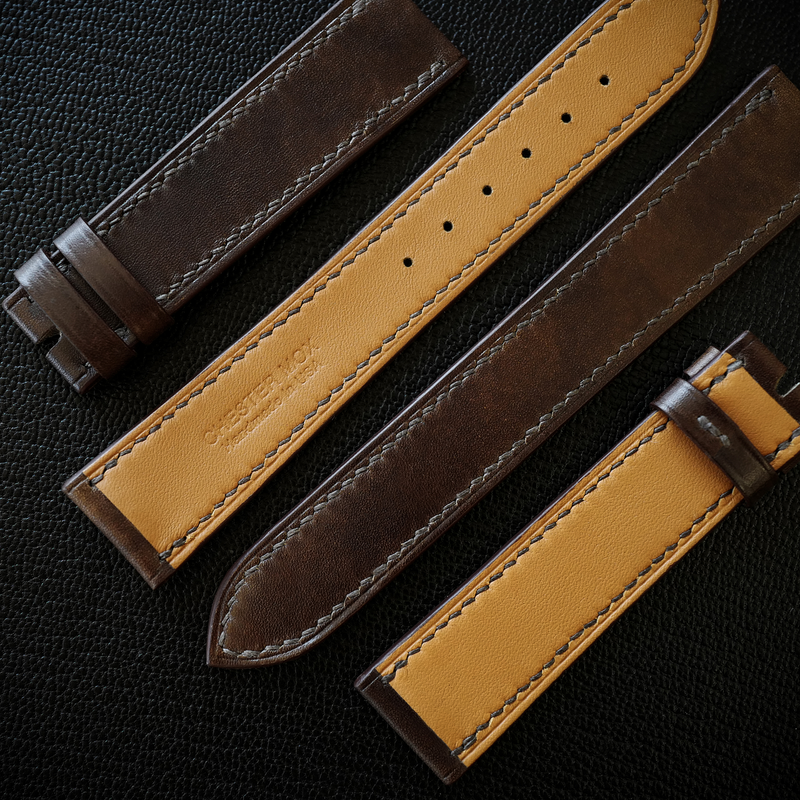 Museum Calf Leather 20/18mm Watch Strap Double Loop