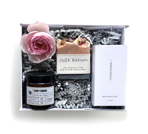 Boxed gift with scented candle, organic rose soap and Hopscotch London bath salt duo