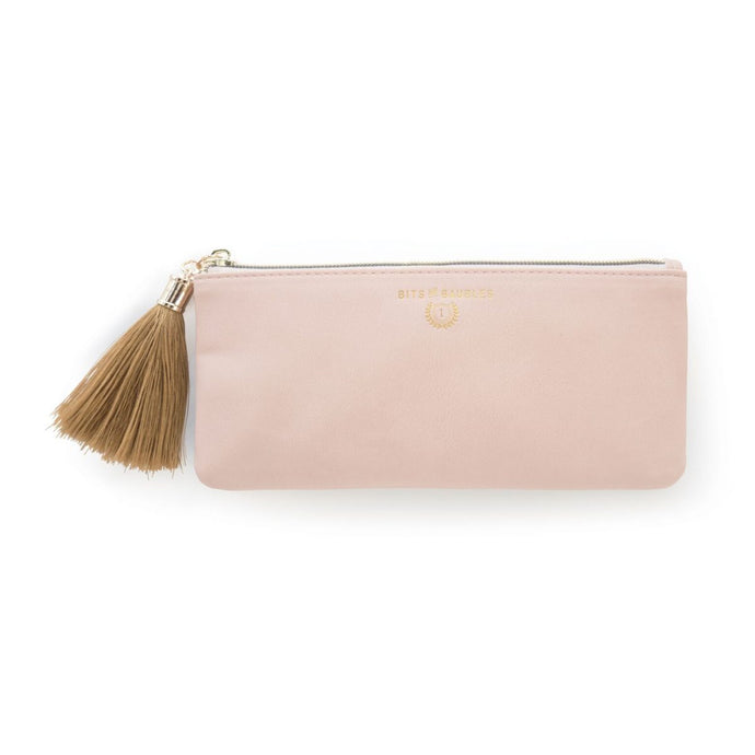 blush pink vegan leather zip pouch