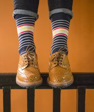 Load image into Gallery viewer, navy and pink striped socks
