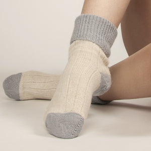 grey and ecru alpaca bed socks