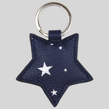 Load image into Gallery viewer, Italian navy leather star keyring with silver stars