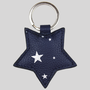 Italian navy leather star keyring with silver stars