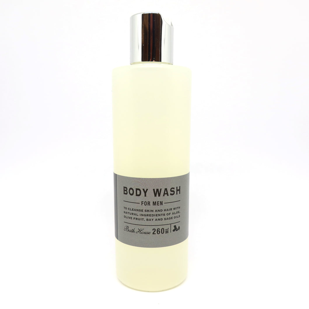 A 260ml bottle of men's body wash by Bath House.