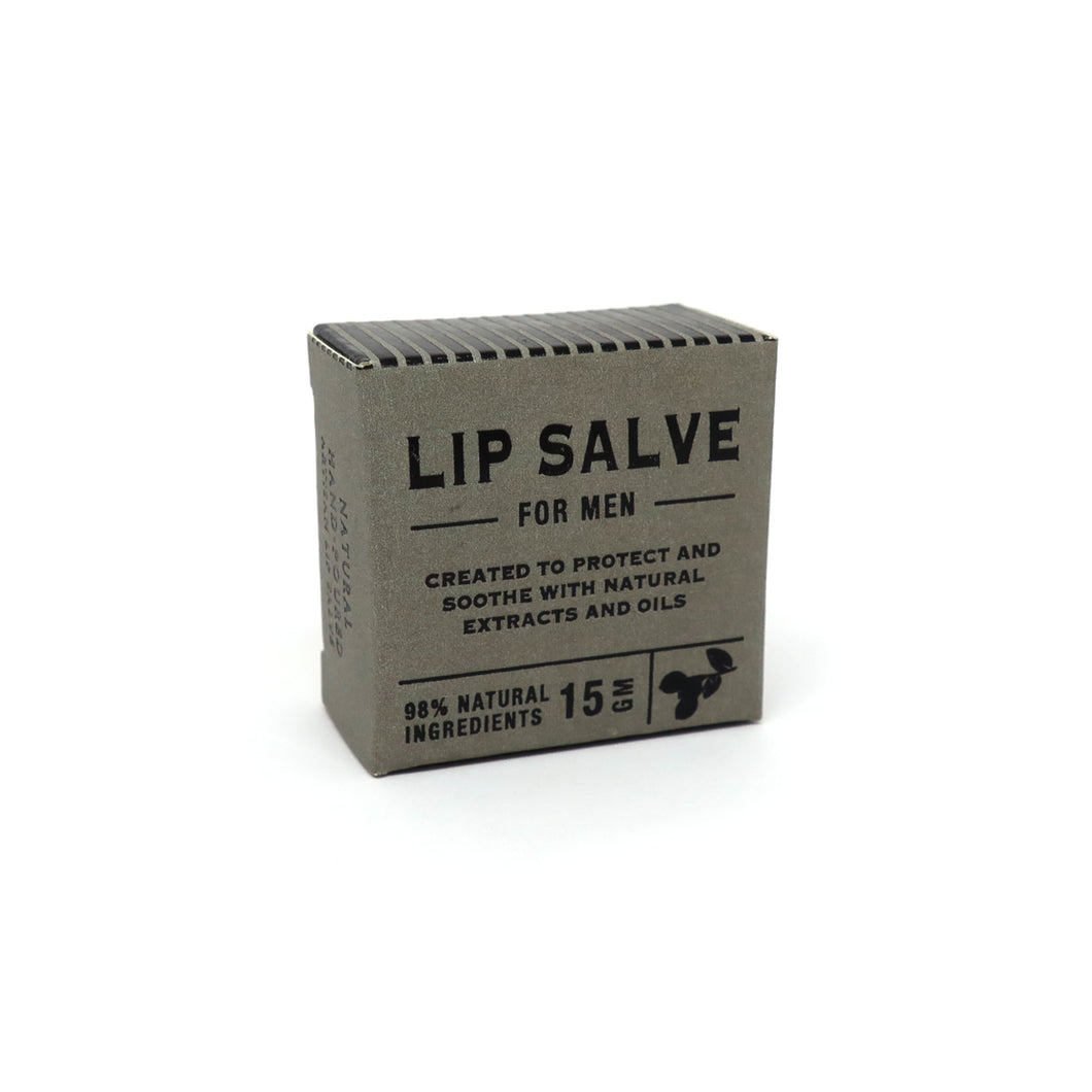 Lip salve for men in grey and black packaging box