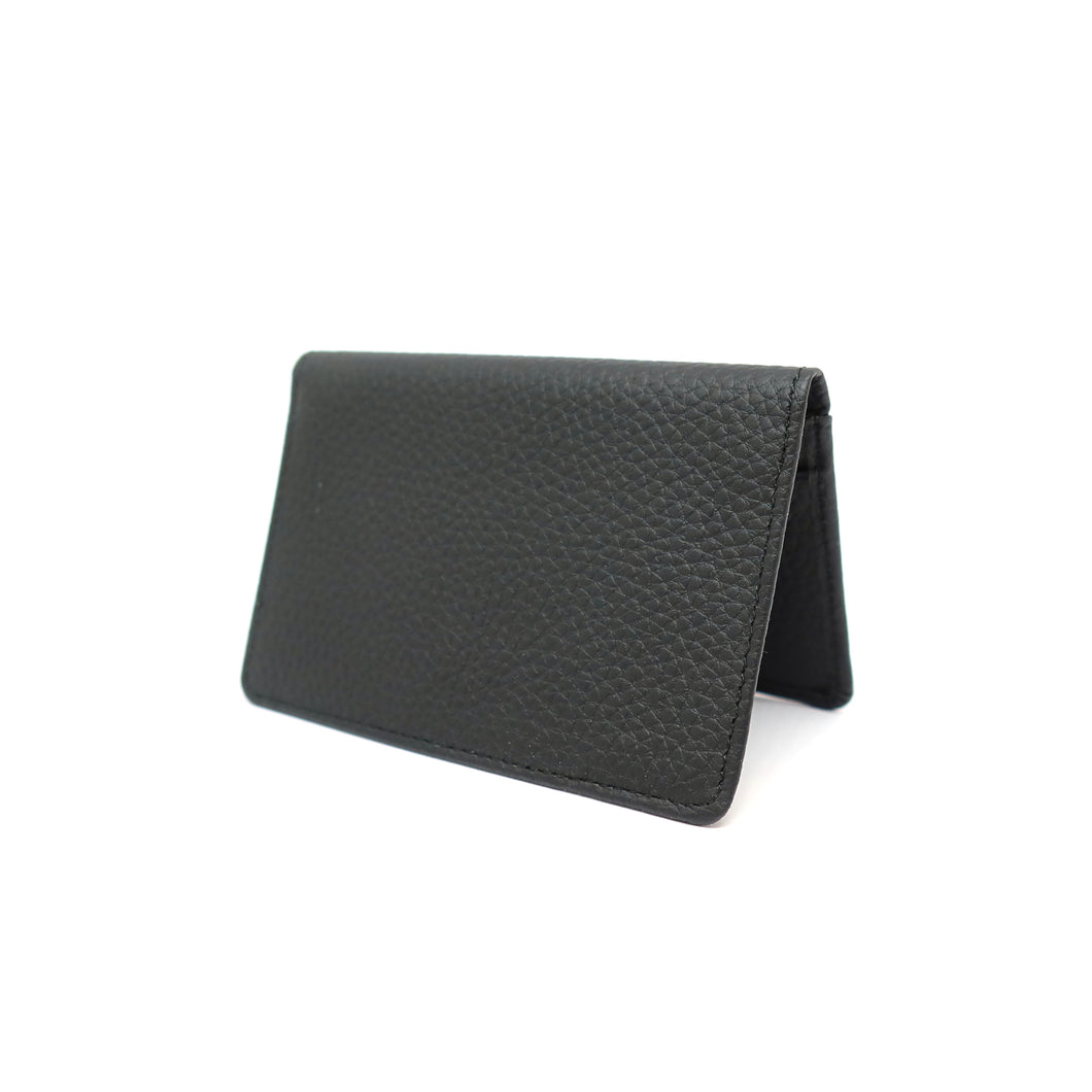 black leather travel card holder