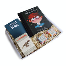 Load image into Gallery viewer, boys  gift box with book, notepad, dinosaur toy and chocolate