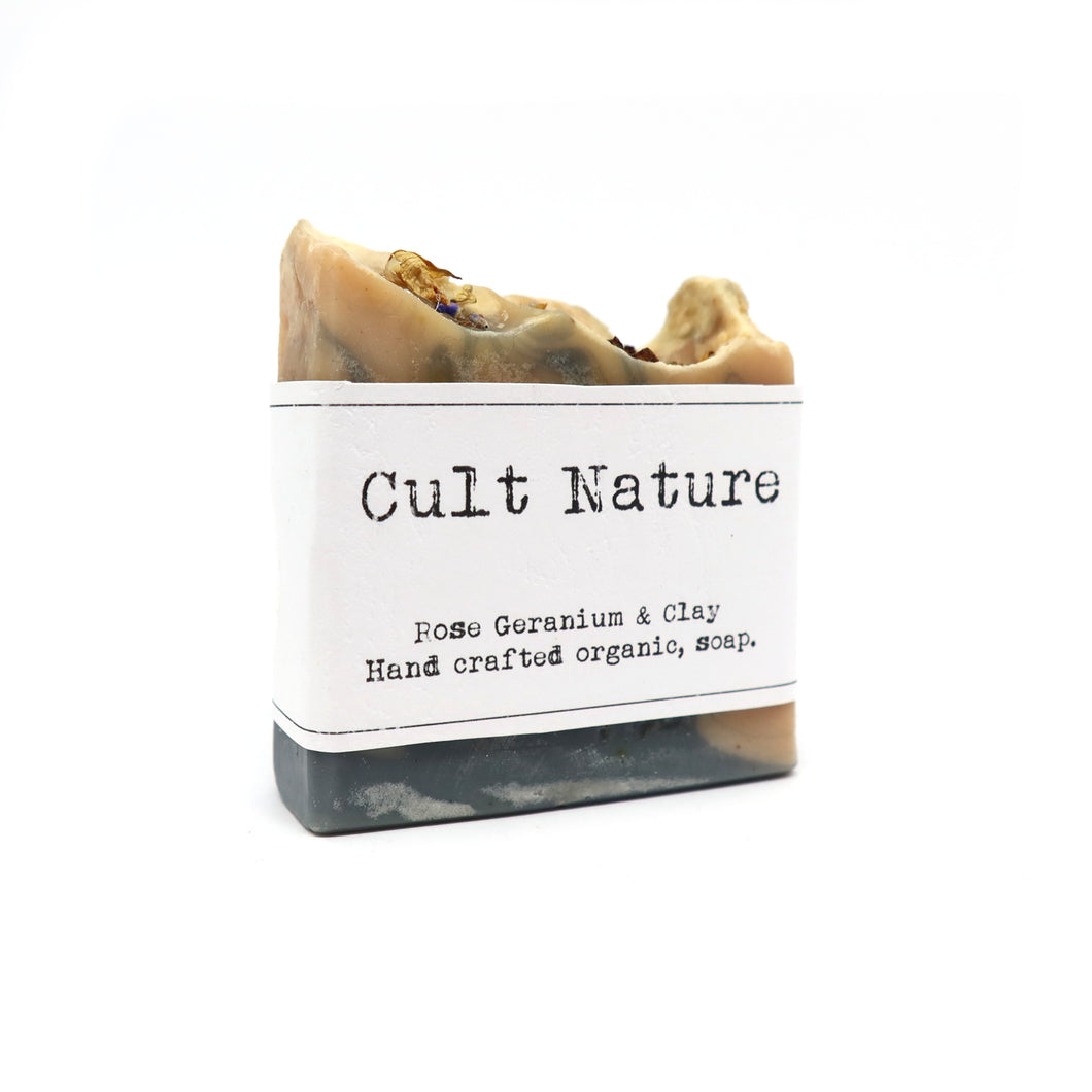 Rose geranium and clay organic soap by Cult Nature.