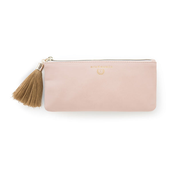 pink vegan leather pouch with gold tassel