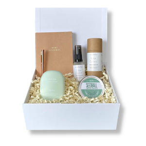 gift box for gardeners with rose gold pen, hand cream set, basil seeds and notepad