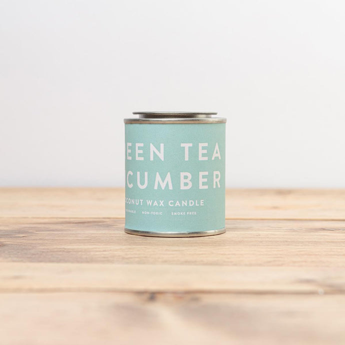 Green tea and cucumber scented candle in a tin