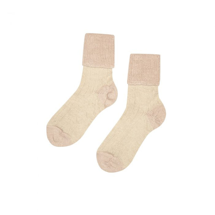 alpaca ecru and blush bed socks