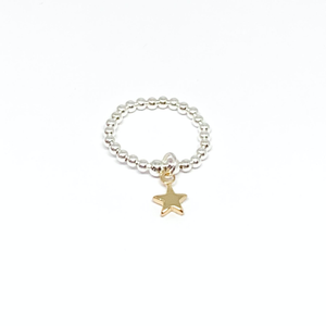 silver elastic bead ring with gold star charm