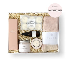 Load image into Gallery viewer, gift box for women including bed socks, tea lights, body oil, bath salts and tea light holder