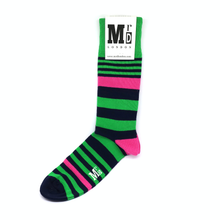 Load image into Gallery viewer, green and pink striped socks by Mr D