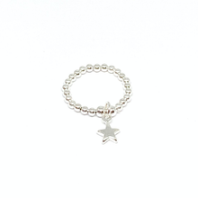 Load image into Gallery viewer, silver bead ring with star charm
