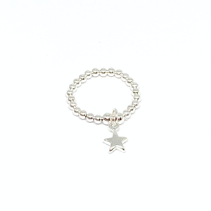 silver bead ring with star charm