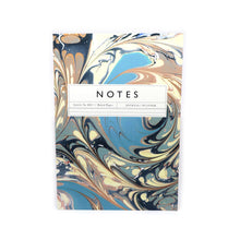 Load image into Gallery viewer, Katie Leamon blue, blush and cream marbled design ruled note book