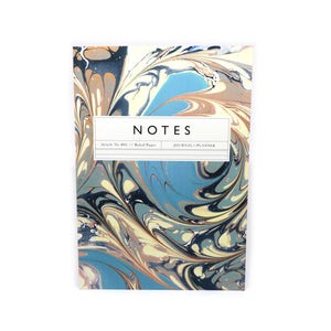 Katie Leamon blue, blush and cream marbled design ruled note book